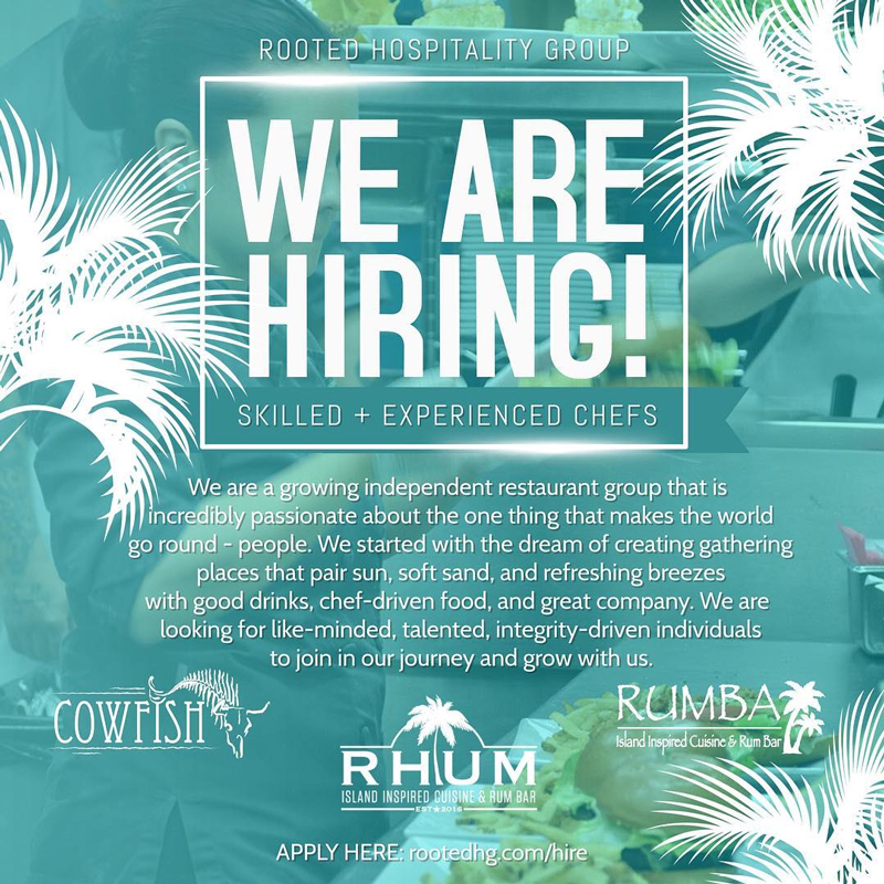 Learn more about open positions within Rooted Hospitality Group. Call for more details or to learn more.