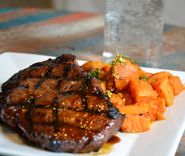 Island Ribeye with Roasted Sweet Potatoes