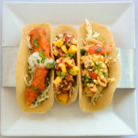 Tacos at RHUM include Buffalo Soldier, Shrimp, and Rastaman's.