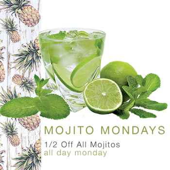Enjoy 1/2 off all mojitos all day on Mondays at RHUM