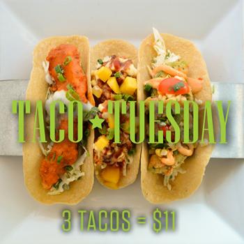 Taco Tuesday is every Tuesday at RHUM - enjoy three tacos for $11