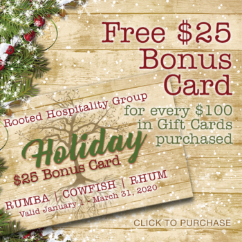 Free $25 Bonus Card for Every $100 in Gift Cards Purchased (Online or In Store)
