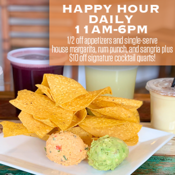 Happy Hour at RHUM is now daily from 11am to 6pm