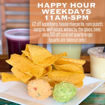 Happy Hour at RHUM is now weekdays from 11am to 5pm