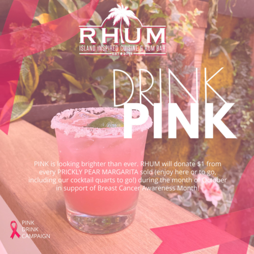 DRINK PINK is back for the month of October! Order a Prickly Pear Margarita and we will donate $1 from every drink sold to help Long Islanders fighting breast cancer. Enjoy here or to go, including our quarts to go.